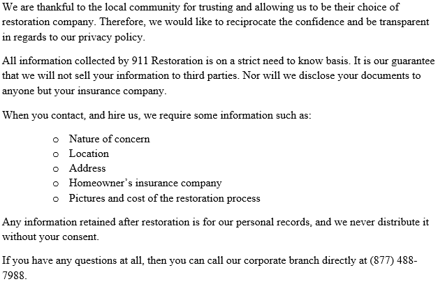 911 Restoration Santa Cruz Privacy Policy
