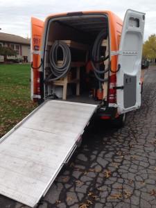 Water Damage Restoration Vacuum Truck At Job Location